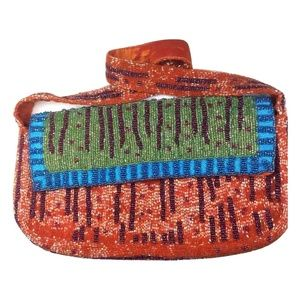 Christiana Beaded Shoulder Purse Bag Orange Blue